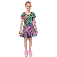 Leaves Tropical Jungle Pattern Kids  Short Sleeve Velvet Dress