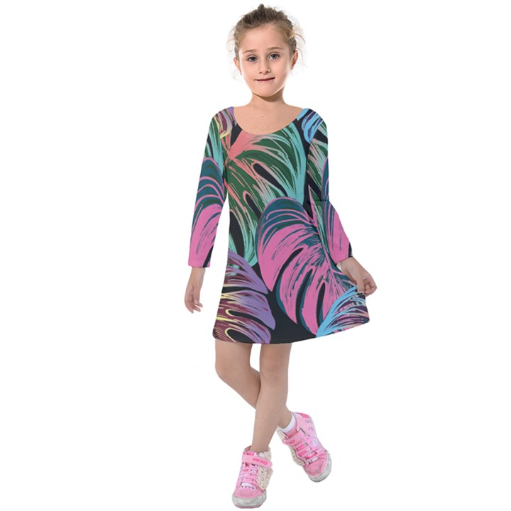 Leaves Tropical Jungle Pattern Kids  Long Sleeve Velvet Dress