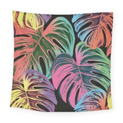 Leaves Tropical Jungle Pattern Square Tapestry (large) by Nexatart