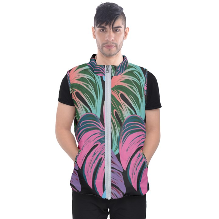Leaves Tropical Jungle Pattern Men s Puffer Vest