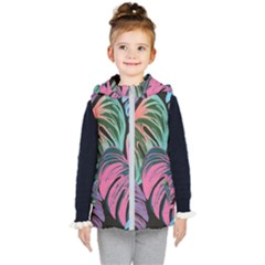 Leaves Tropical Jungle Pattern Kid s Hooded Puffer Vest