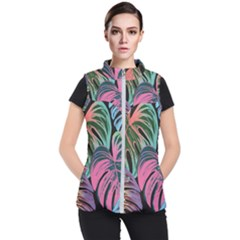 Leaves Tropical Jungle Pattern Women s Puffer Vest
