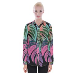 Leaves Tropical Jungle Pattern Womens Long Sleeve Shirt