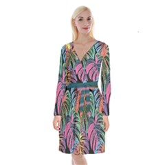 Leaves Tropical Jungle Pattern Long Sleeve Velvet Front Wrap Dress