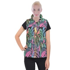 Leaves Tropical Jungle Pattern Women s Button Up Vest