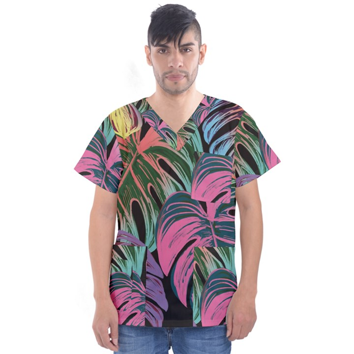 Leaves Tropical Jungle Pattern Men s V-Neck Scrub Top