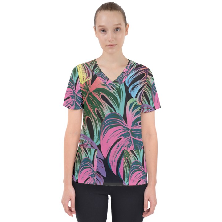 Leaves Tropical Jungle Pattern Women s V-Neck Scrub Top