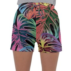 Leaves Tropical Jungle Pattern Sleepwear Shorts