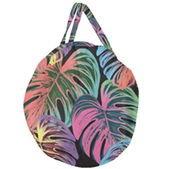 Leaves Tropical Jungle Pattern Giant Round Zipper Tote