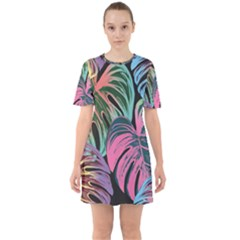 Leaves Tropical Jungle Pattern Sixties Short Sleeve Mini Dress