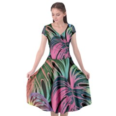 Leaves Tropical Jungle Pattern Cap Sleeve Wrap Front Dress