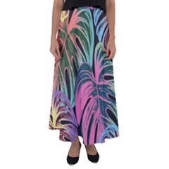 Leaves Tropical Jungle Pattern Flared Maxi Skirt