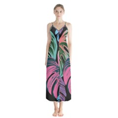 Leaves Tropical Jungle Pattern Button Up Chiffon Maxi Dress