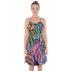 Leaves Tropical Jungle Pattern Ruffle Detail Chiffon Dress