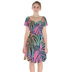 Leaves Tropical Jungle Pattern Short Sleeve Bardot Dress