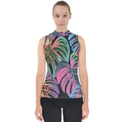 Leaves Tropical Jungle Pattern Mock Neck Shell Top
