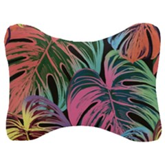 Leaves Tropical Jungle Pattern Velour Seat Head Rest Cushion
