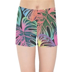 Leaves Tropical Jungle Pattern Kids Sports Shorts