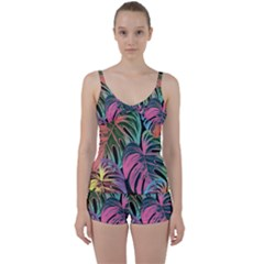 Leaves Tropical Jungle Pattern Tie Front Two Piece Tankini
