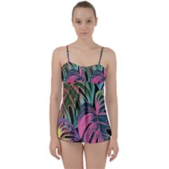 Leaves Tropical Jungle Pattern Babydoll Tankini Set