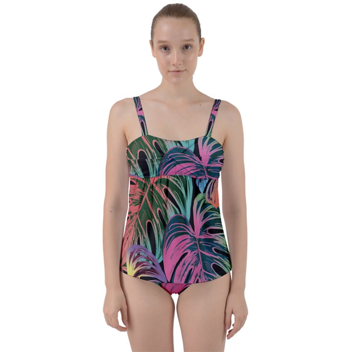 Leaves Tropical Jungle Pattern Twist Front Tankini Set