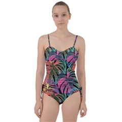 Leaves Tropical Jungle Pattern Sweetheart Tankini Set