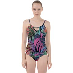 Leaves Tropical Jungle Pattern Cut Out Top Tankini Set