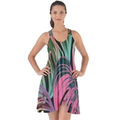 Leaves Tropical Jungle Pattern Show Some Back Chiffon Dress
