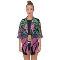 Leaves Tropical Jungle Pattern Open Front Chiffon Kimono