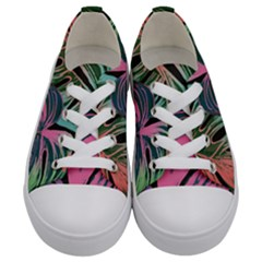 Leaves Tropical Jungle Pattern Kids  Low Top Canvas Sneakers