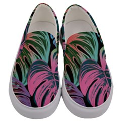 Leaves Tropical Jungle Pattern Men s Canvas Slip Ons