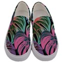 Leaves Tropical Jungle Pattern Men s Canvas Slip Ons View1