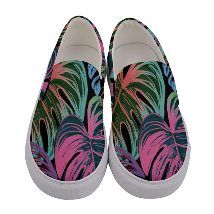 Leaves Tropical Jungle Pattern Women s Canvas Slip Ons