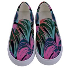 Leaves Tropical Jungle Pattern Kids  Canvas Slip Ons