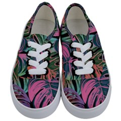 Leaves Tropical Jungle Pattern Kids  Classic Low Top Sneakers