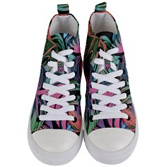 Leaves Tropical Jungle Pattern Women s Mid Top Canvas Sneakers