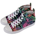Leaves Tropical Jungle Pattern Women s Mid-Top Canvas Sneakers View2