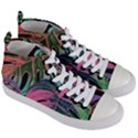 Leaves Tropical Jungle Pattern Women s Mid-Top Canvas Sneakers View3