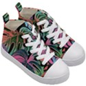 Leaves Tropical Jungle Pattern Kid s Mid-Top Canvas Sneakers View3