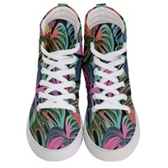 Leaves Tropical Jungle Pattern Women s Hi Top Skate Sneakers
