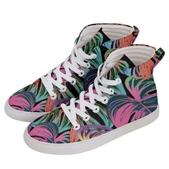 Leaves Tropical Jungle Pattern Women s Hi Top Skate Sneakers by Nexatart