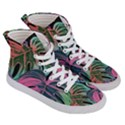 Leaves Tropical Jungle Pattern Women s Hi-Top Skate Sneakers View3