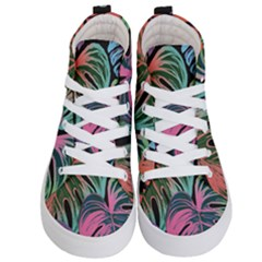 Leaves Tropical Jungle Pattern Kid s Hi Top Skate Sneakers