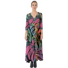 Leaves Tropical Jungle Pattern Button Up Boho Maxi Dress