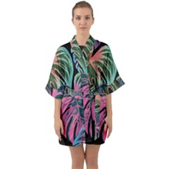 Leaves Tropical Jungle Pattern Quarter Sleeve Kimono Robe