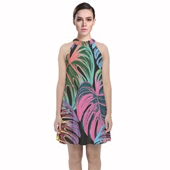 Leaves Tropical Jungle Pattern Velvet Halter Neckline Dress