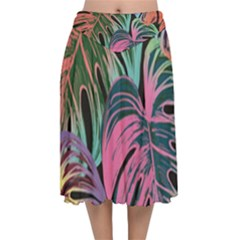 Leaves Tropical Jungle Pattern Velvet Flared Midi Skirt