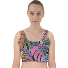 Leaves Tropical Jungle Pattern Velvet Racer Back Crop Top
