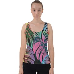 Leaves Tropical Jungle Pattern Velvet Tank Top