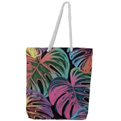 Leaves Tropical Jungle Pattern Full Print Rope Handle Tote (large)